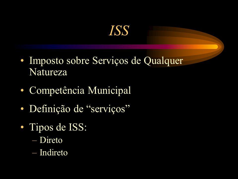 ISS Imposto sobre Serviços de Qualquer Natureza Competência Municipal