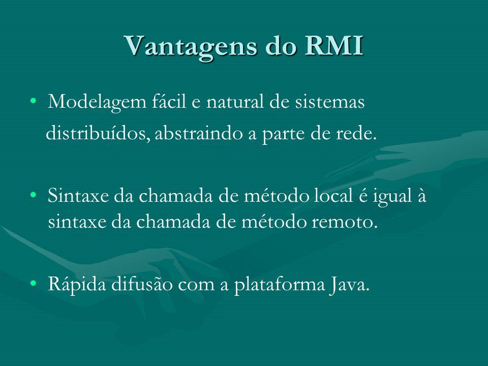 Vantagens do RMI Modelagem fácil e natural de sistemas