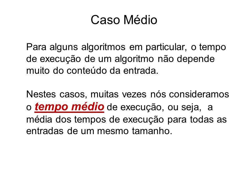 Caso Médio Para alguns algoritmos em particular, o tempo de execução de um algoritmo não depende muito do conteúdo da entrada.
