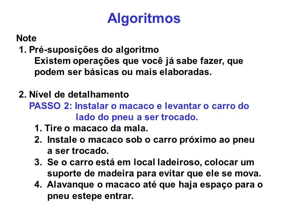Algoritmos Note 1. Pré-suposições do algoritmo