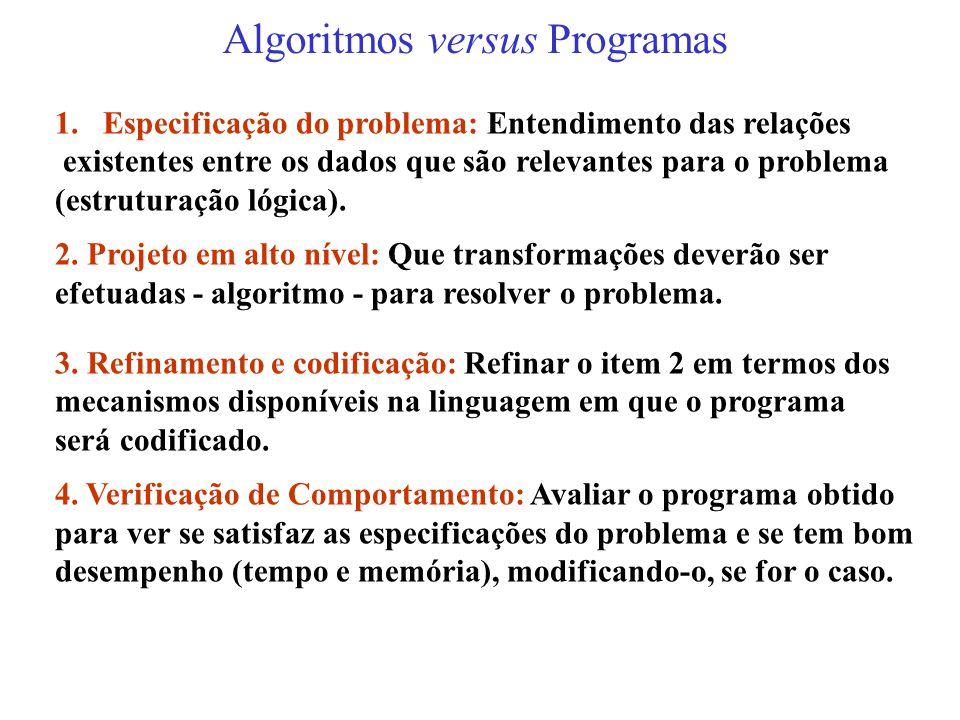 Algoritmos versus Programas
