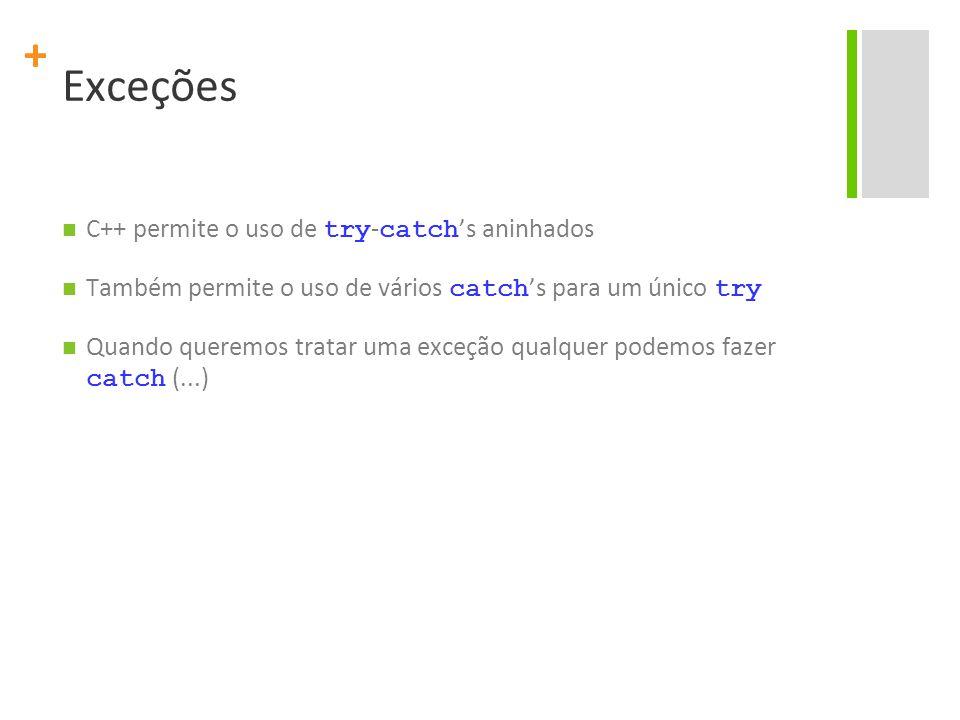 Exceções C++ permite o uso de try-catch's aninhados