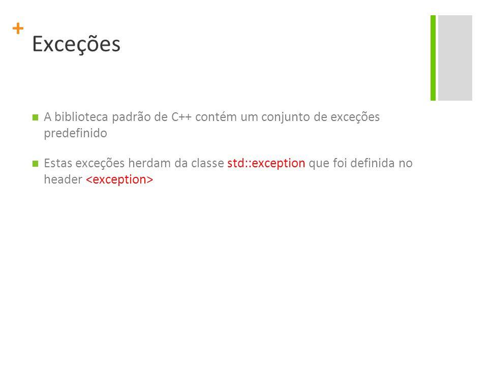 Exceções A biblioteca padrão de C++ contém um conjunto de exceções predefinido.