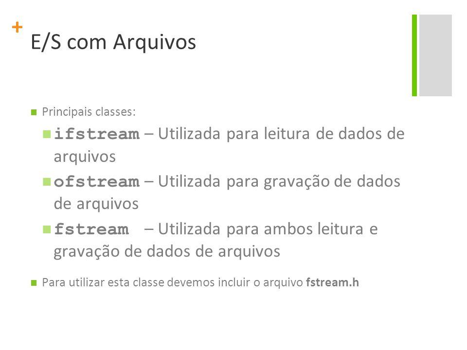 E/S com Arquivos Principais classes: ifstream – Utilizada para leitura de dados de arquivos.