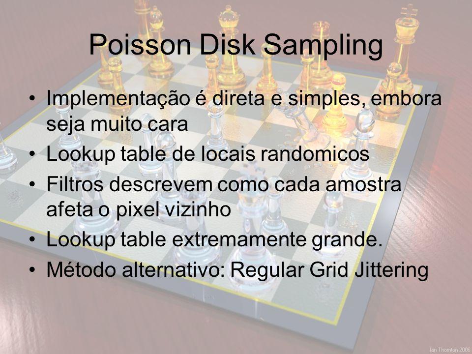 Poisson Disk Sampling Implementação é direta e simples, embora seja muito cara. Lookup table de locais randomicos.