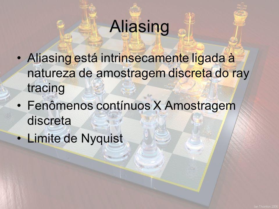 Aliasing Aliasing está intrinsecamente ligada à natureza de amostragem discreta do ray tracing. Fenômenos contínuos X Amostragem discreta.