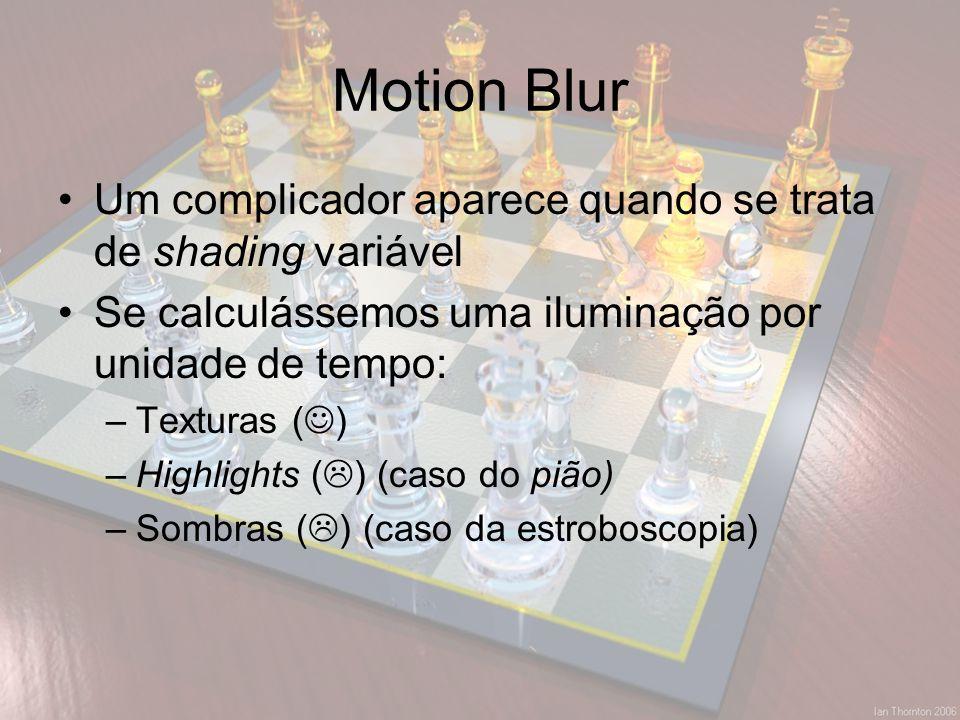 Motion Blur Um complicador aparece quando se trata de shading variável