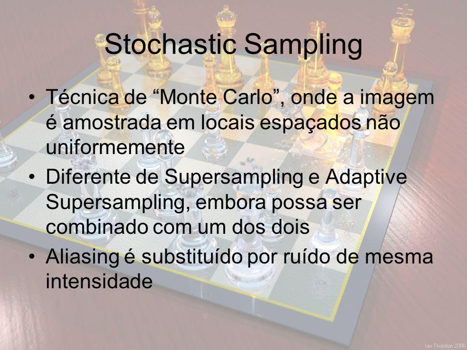 Stochastic Sampling Técnica de Monte Carlo , onde a imagem é amostrada em locais espaçados não uniformemente.