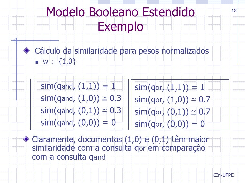 Modelo Booleano Estendido Exemplo