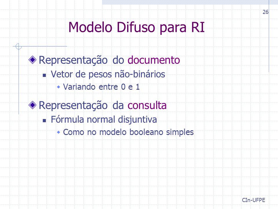 Modelo Difuso para RI Representação do documento