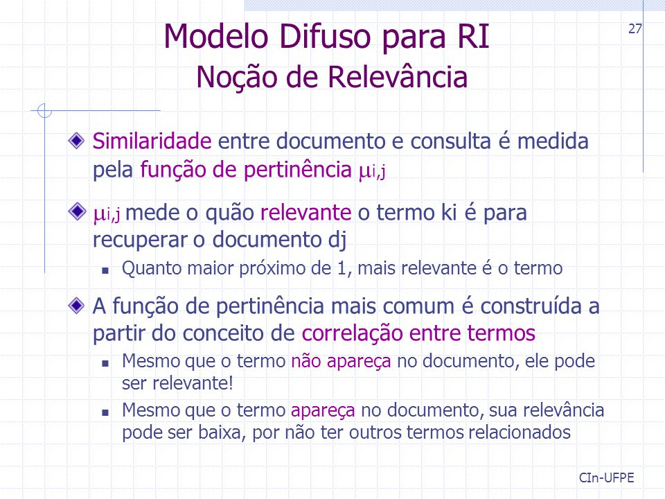 Modelo Difuso para RI Noção de Relevância