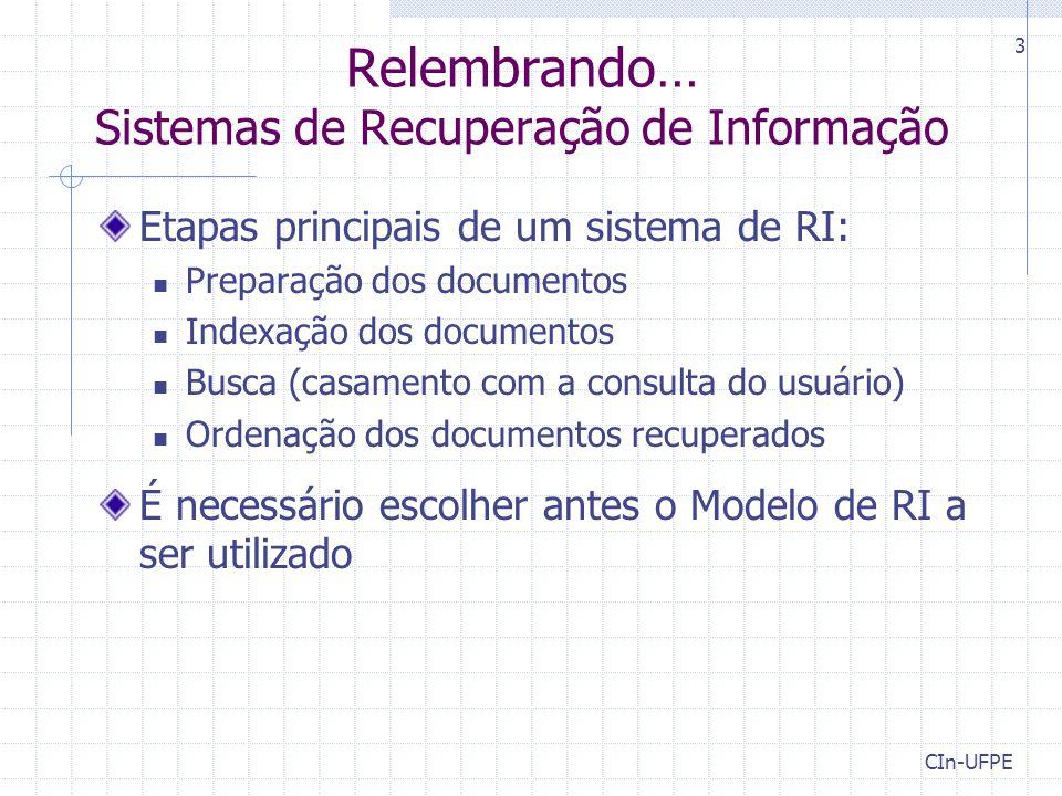 Relembrando… Sistemas de Recuperação de Informação