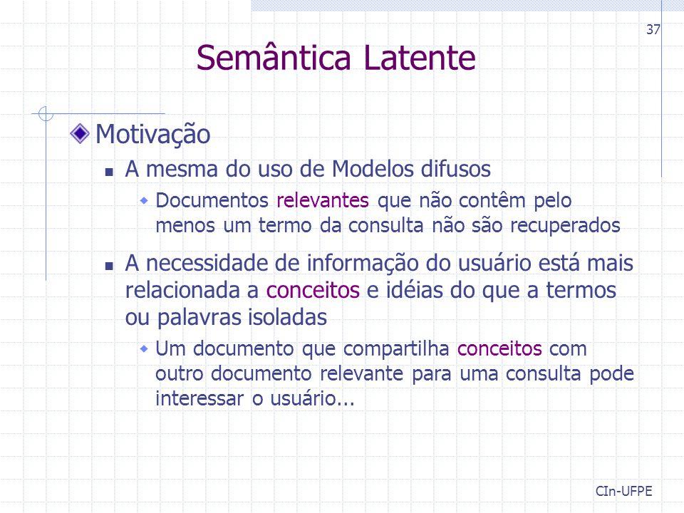 Semântica Latente Motivação A mesma do uso de Modelos difusos