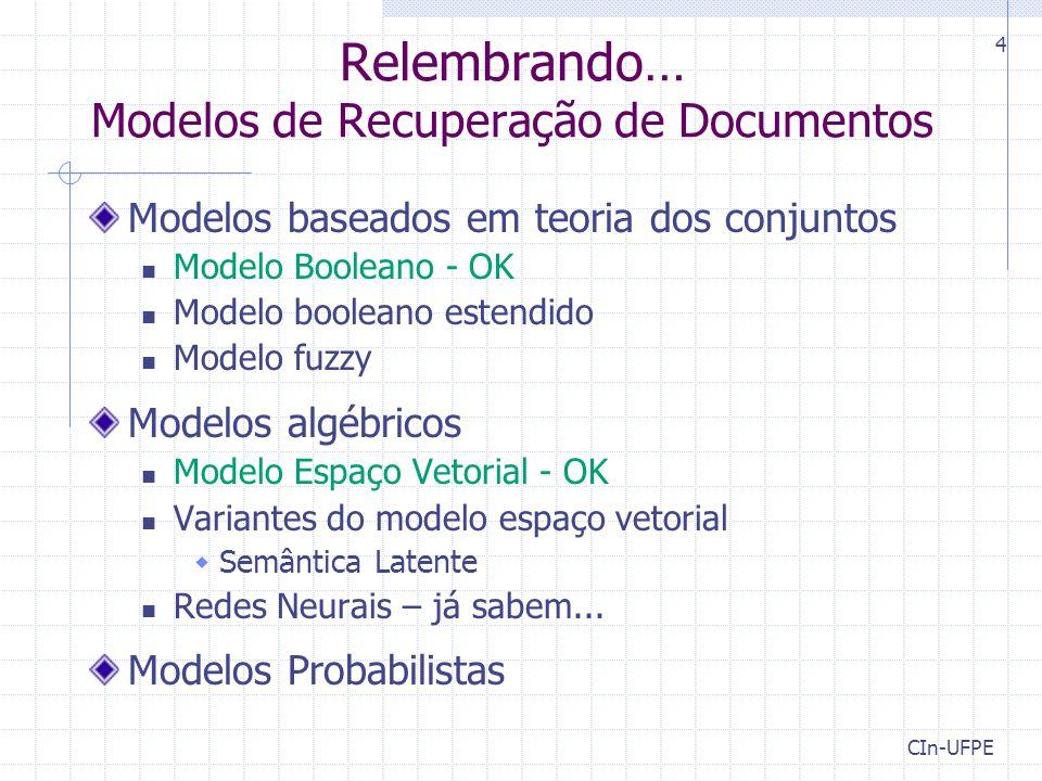 Relembrando… Modelos de Recuperação de Documentos