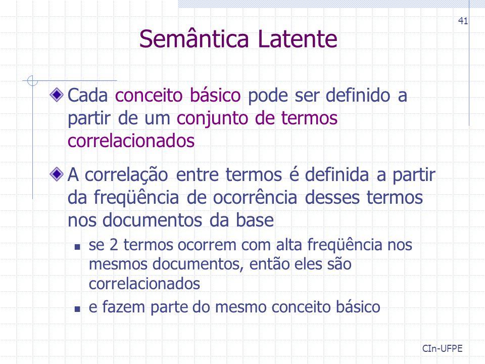 Semântica Latente Cada conceito básico pode ser definido a partir de um conjunto de termos correlacionados.