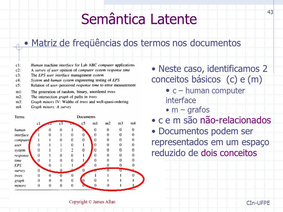 Semântica Latente Matriz de freqüências dos termos nos documentos