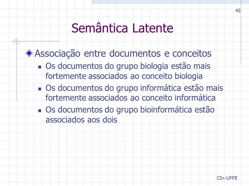 Semântica Latente Associação entre documentos e conceitos