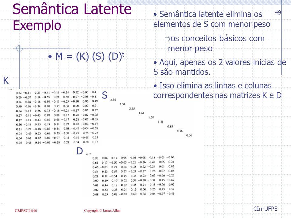 Semântica Latente Exemplo M = (K) (S) (D)t K S D