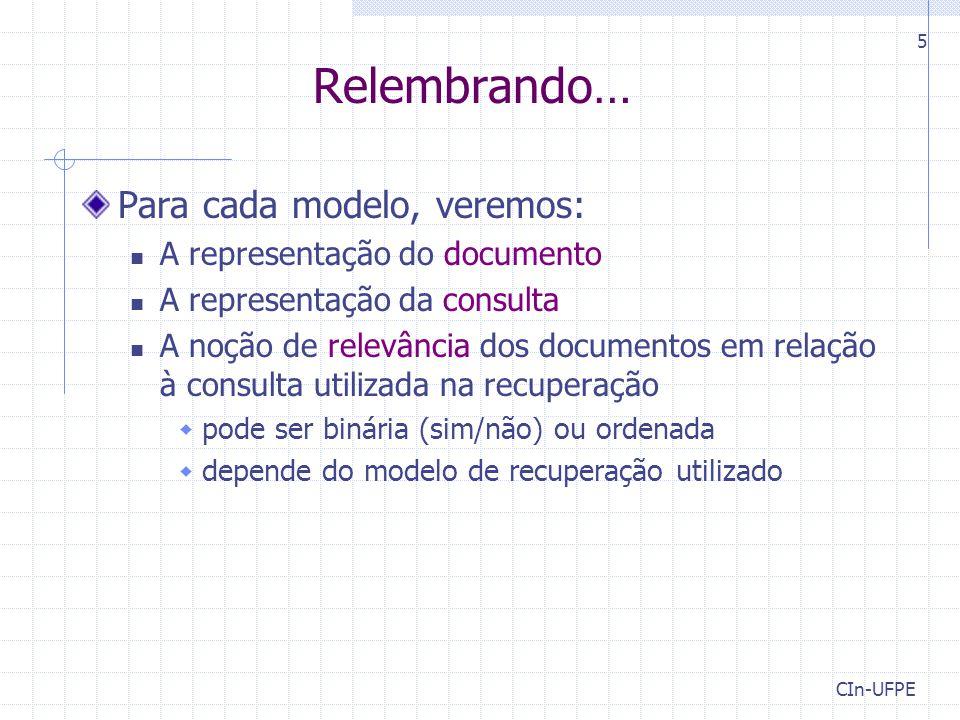 Relembrando… Para cada modelo, veremos: A representação do documento