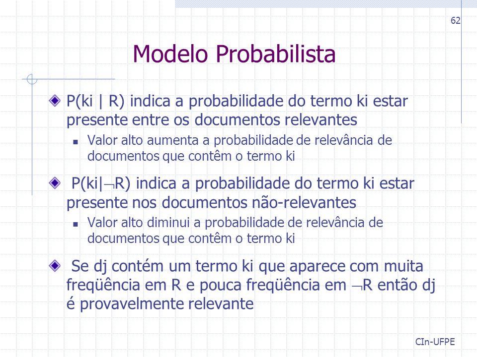 Modelo Probabilista P(ki | R) indica a probabilidade do termo ki estar presente entre os documentos relevantes.