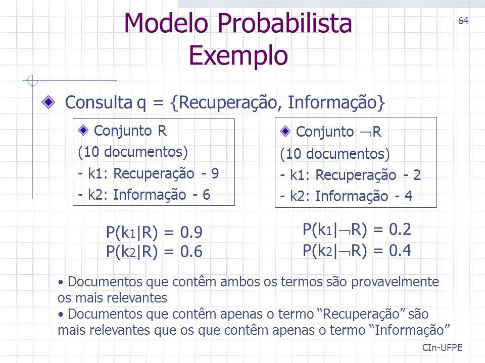 Modelo Probabilista Exemplo Consulta q = {Recuperação, Informação}