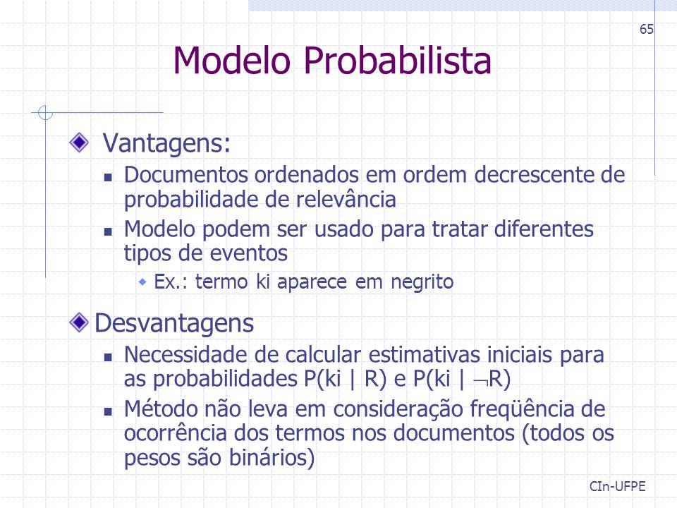 Modelo Probabilista Vantagens: Desvantagens