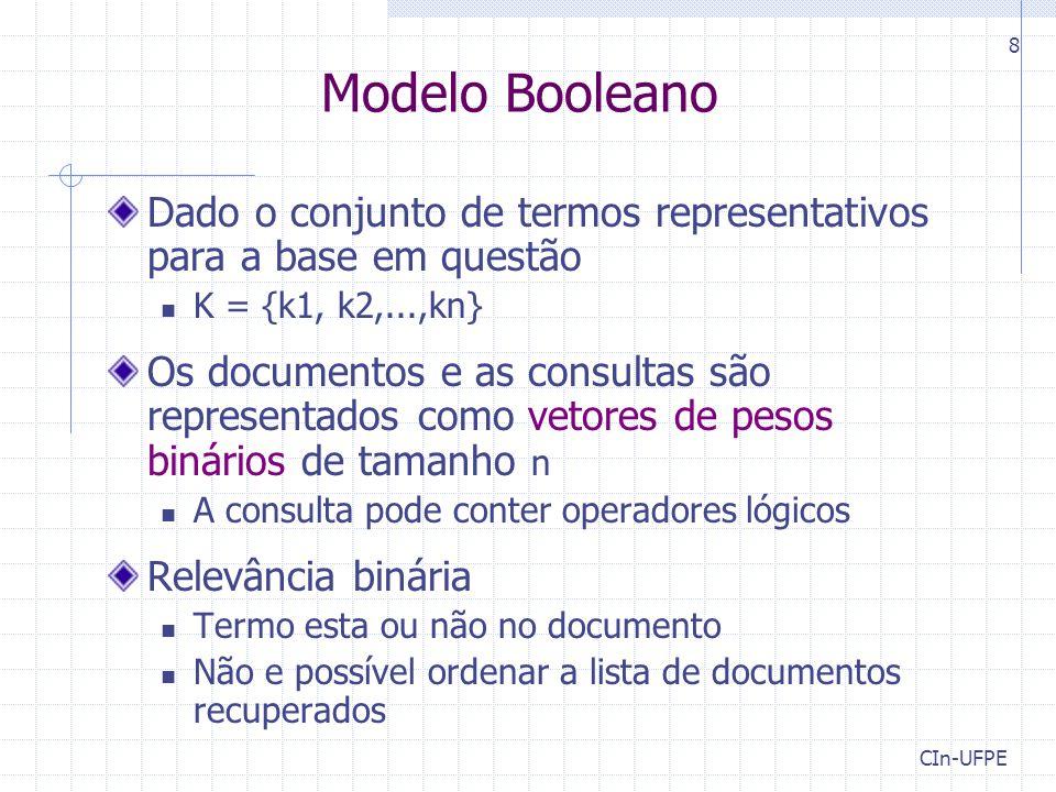 Modelo Booleano Dado o conjunto de termos representativos para a base em questão. K = {k1, k2,...,kn}