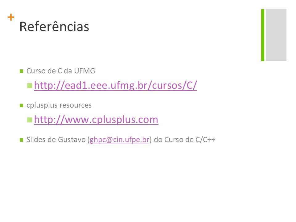 Referências http://ead1.eee.ufmg.br/cursos/C/ http://www.cplusplus.com