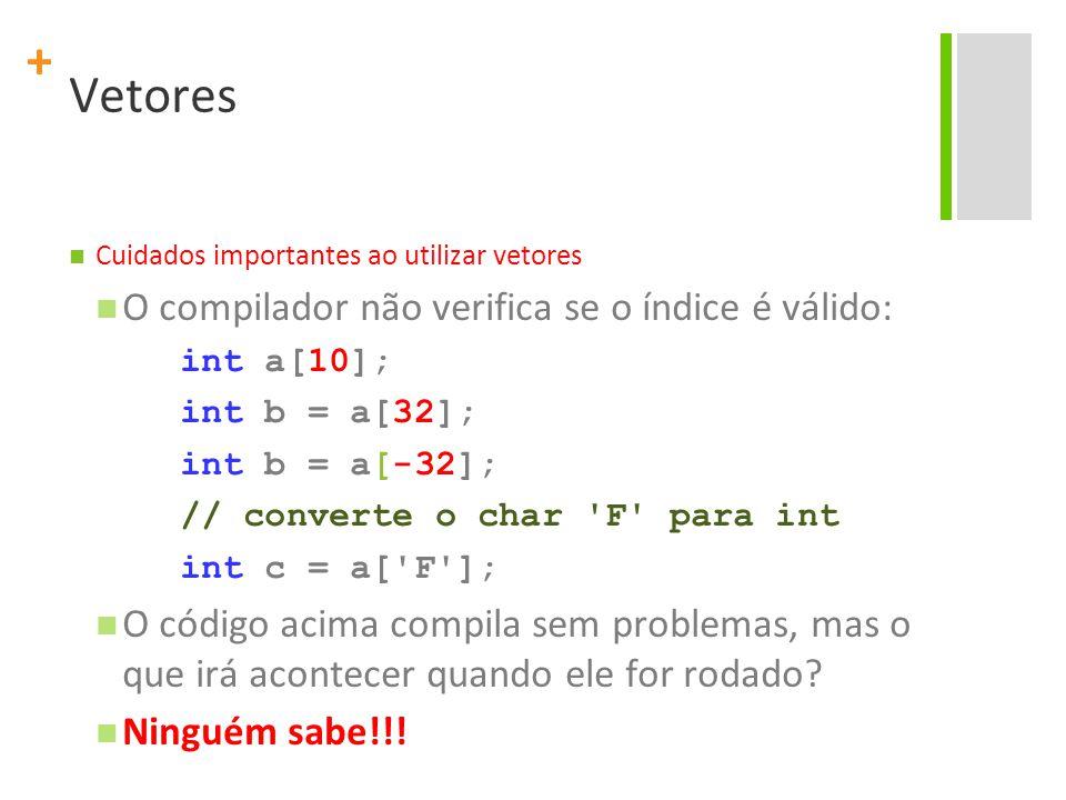 Vetores O compilador não verifica se o índice é válido:
