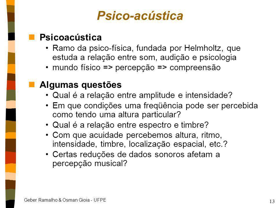 Psico-acústica Psicoacústica Algumas questões