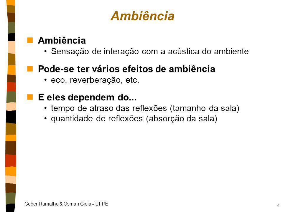 Ambiência Ambiência Pode-se ter vários efeitos de ambiência