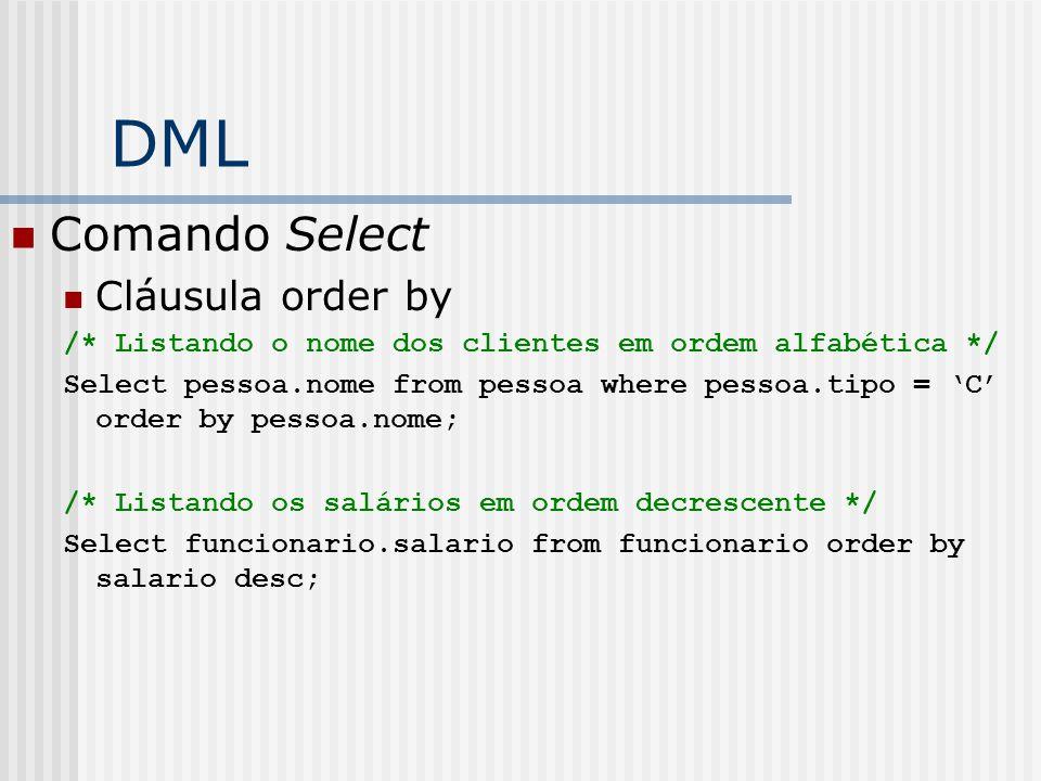 DML Comando Select Cláusula order by