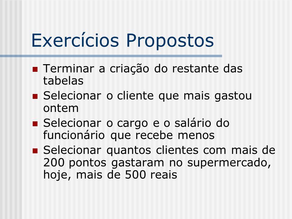 Exercícios Propostos Terminar a criação do restante das tabelas