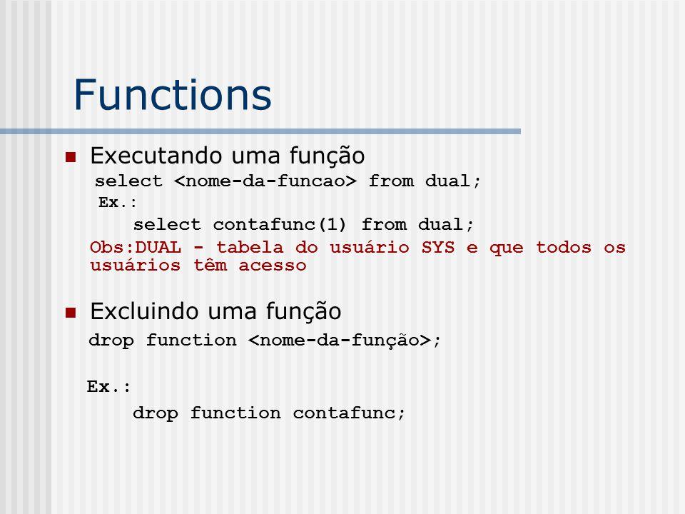 Functions Executando uma função Excluindo uma função