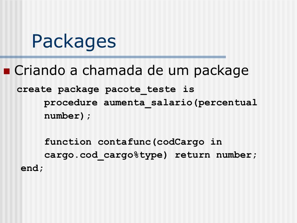 Packages Criando a chamada de um package