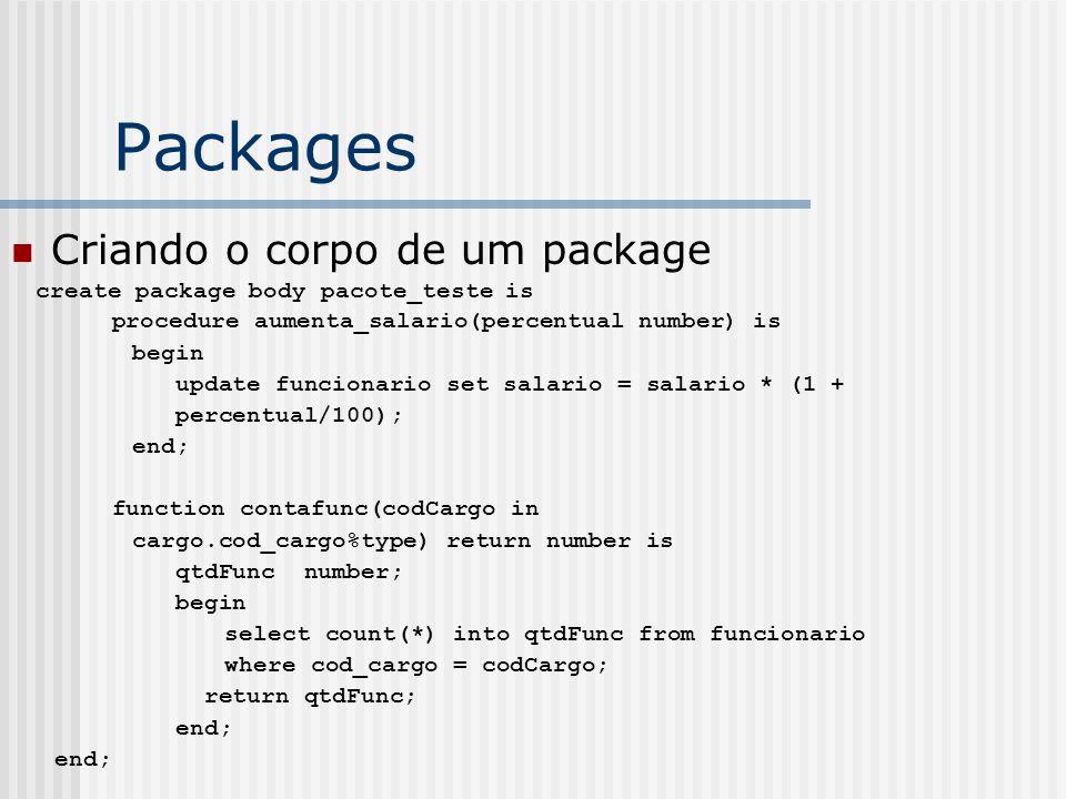 Packages Criando o corpo de um package