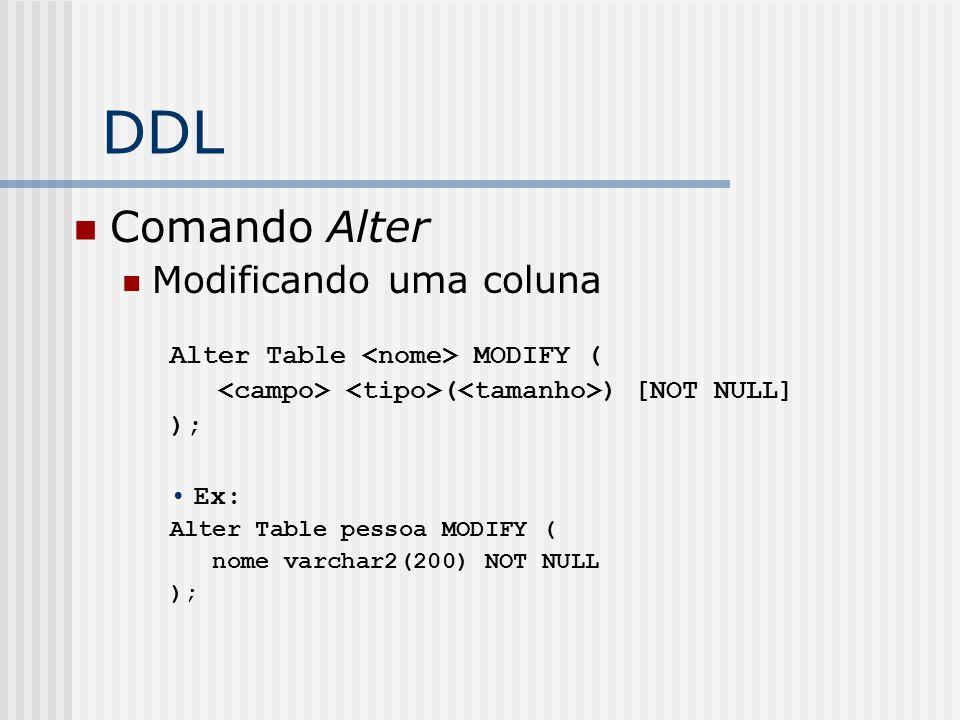DDL Comando Alter Modificando uma coluna