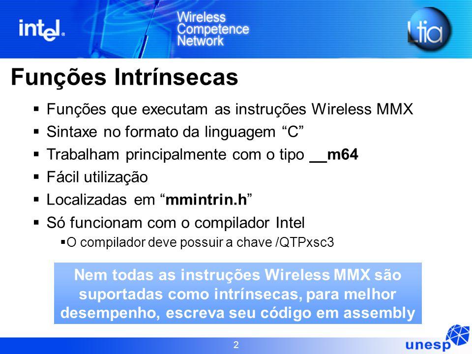 Funções Intrínsecas Funções que executam as instruções Wireless MMX