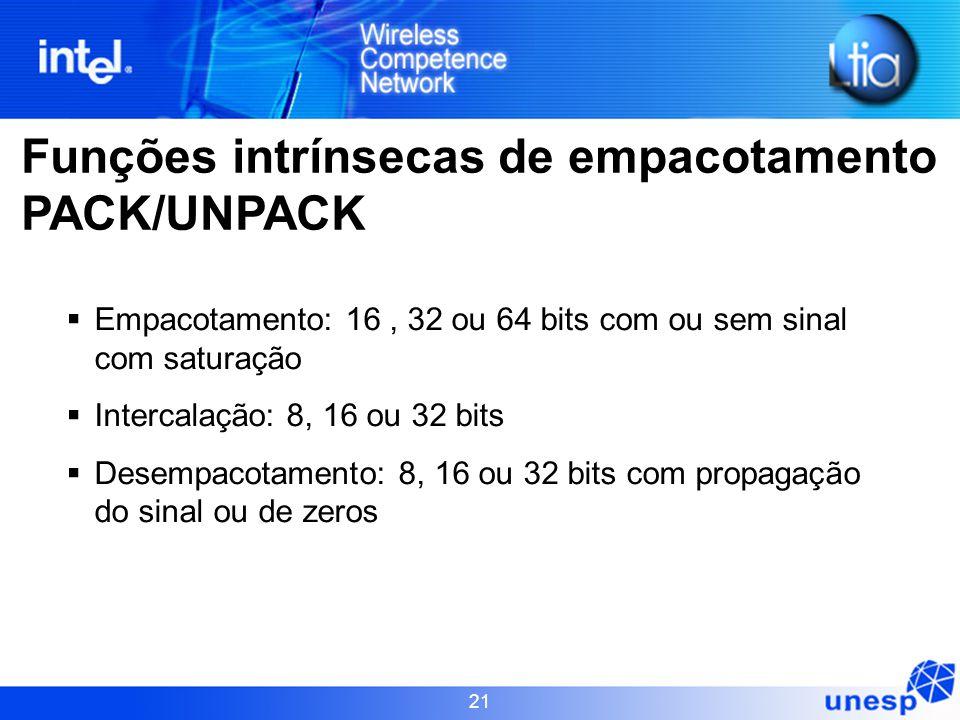Funções intrínsecas de empacotamento PACK/UNPACK