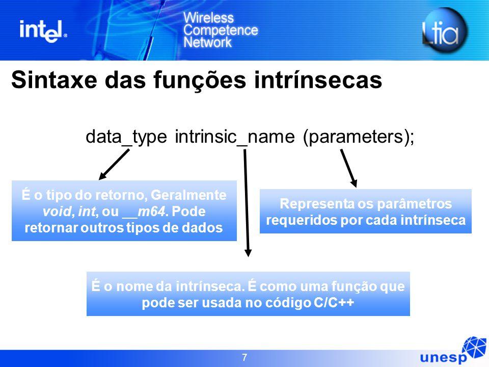 Representa os parâmetros requeridos por cada intrínseca