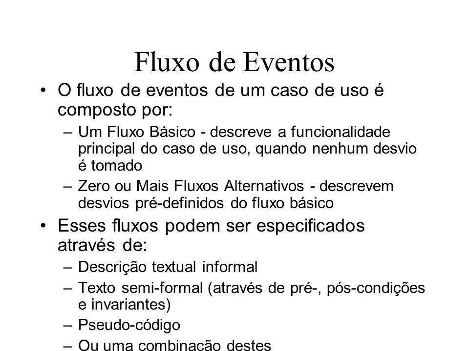 Fluxo de Eventos O fluxo de eventos de um caso de uso é composto por: