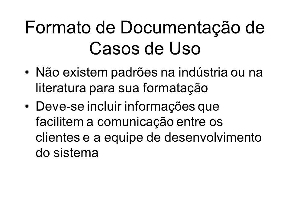 Formato de Documentação de Casos de Uso