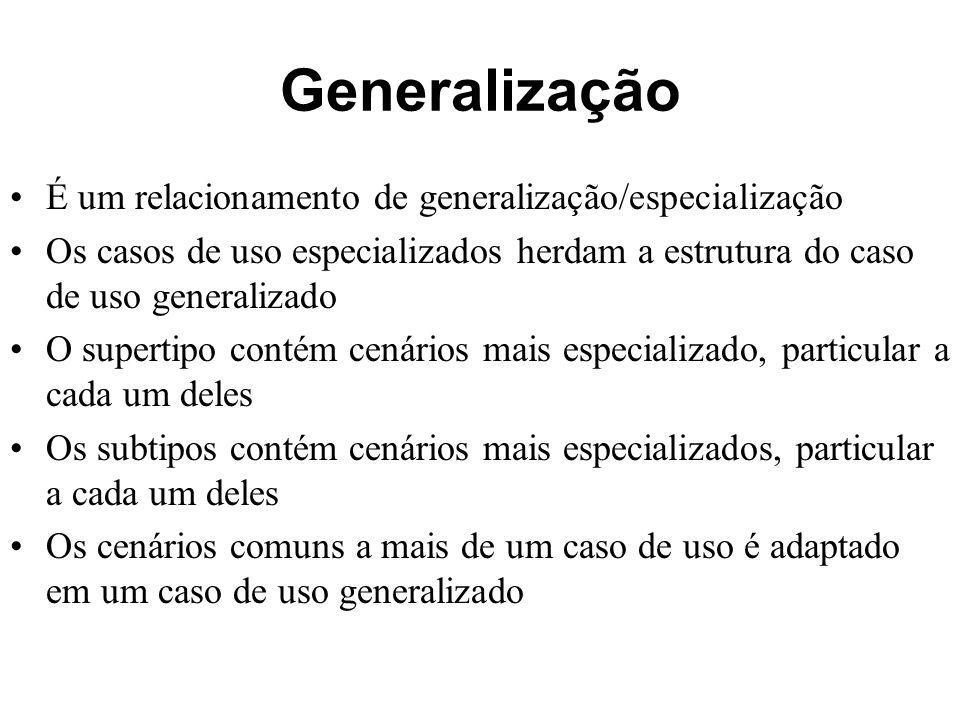Generalização É um relacionamento de generalização/especialização
