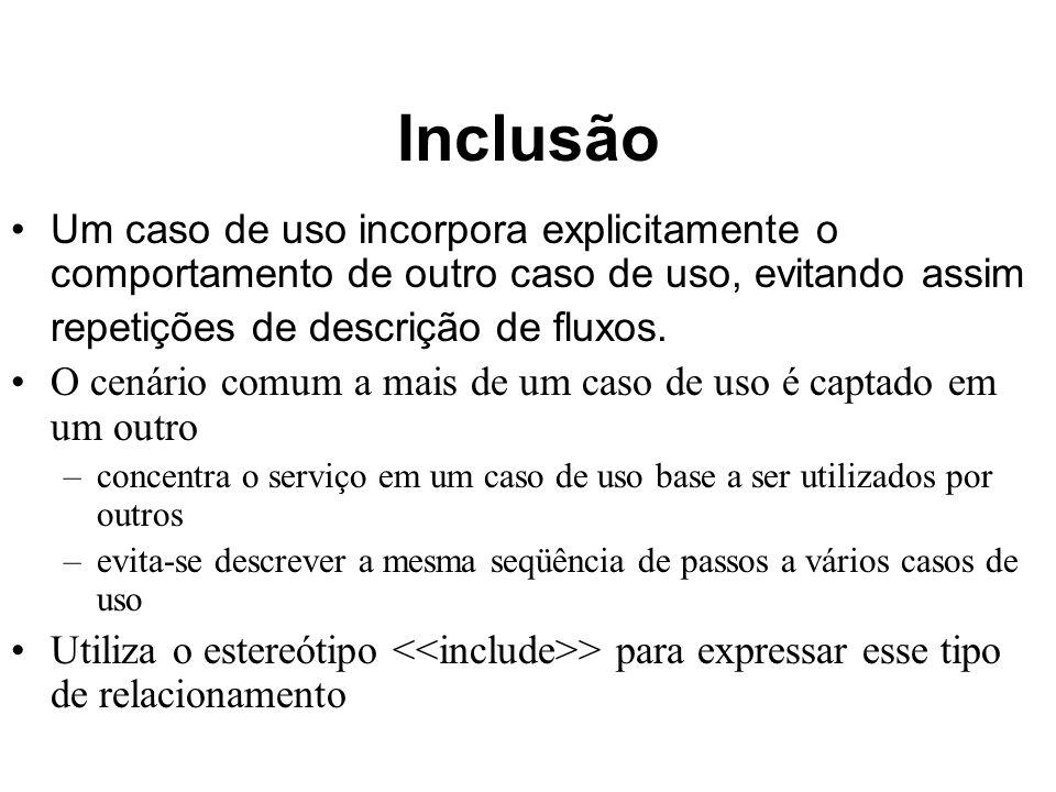 Inclusão Um caso de uso incorpora explicitamente o comportamento de outro caso de uso, evitando assim.