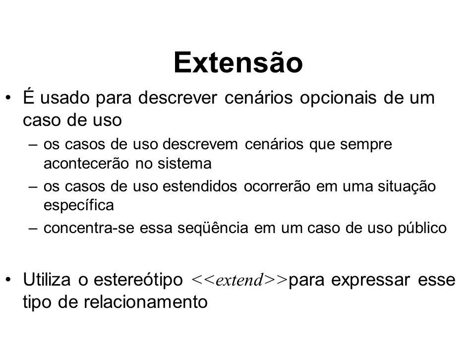 Extensão É usado para descrever cenários opcionais de um caso de uso