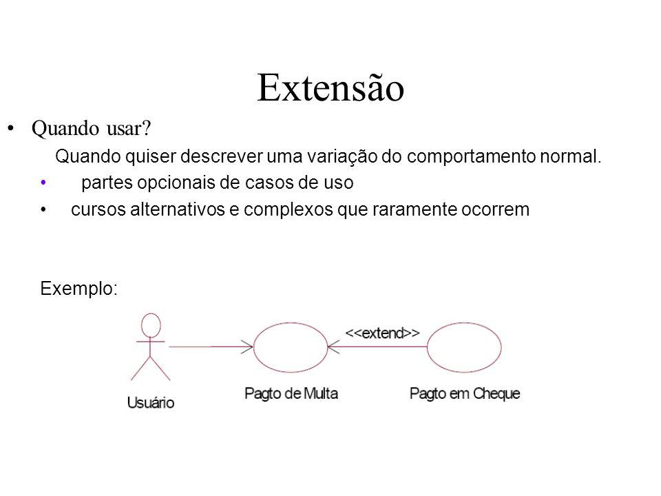 Extensão Quando usar Quando quiser descrever uma variação do comportamento normal. partes opcionais de casos de uso.