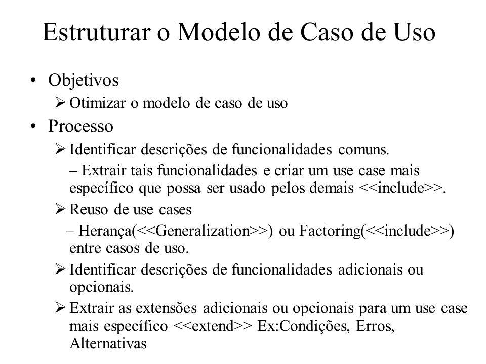 Estruturar o Modelo de Caso de Uso