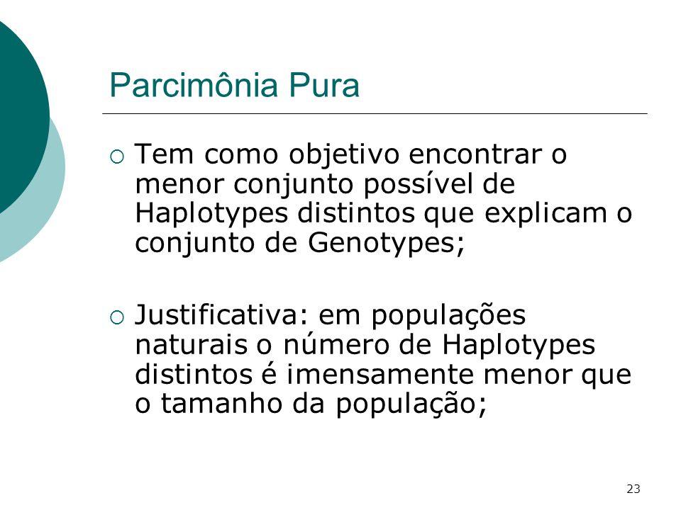 Parcimônia Pura Tem como objetivo encontrar o menor conjunto possível de Haplotypes distintos que explicam o conjunto de Genotypes;