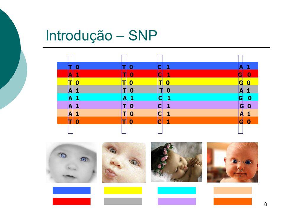 Introdução – SNP T 0 T 0 C 1 A 1 A 1 T 0 C 1 G 0 T 0 T 0 T 0 G 0