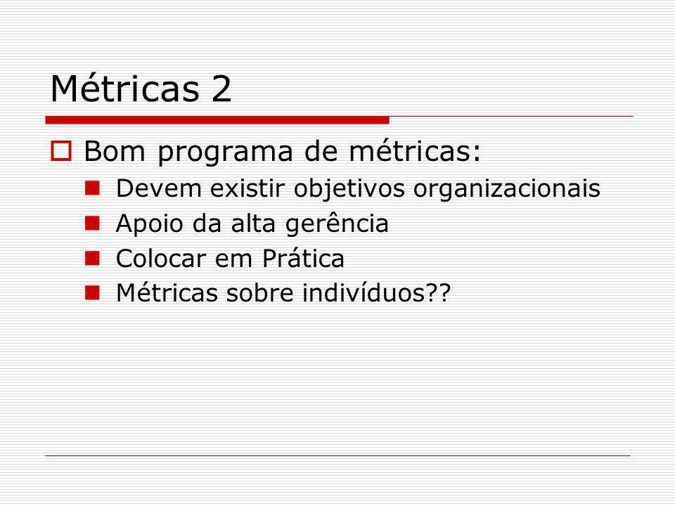 Métricas 2 Bom programa de métricas: